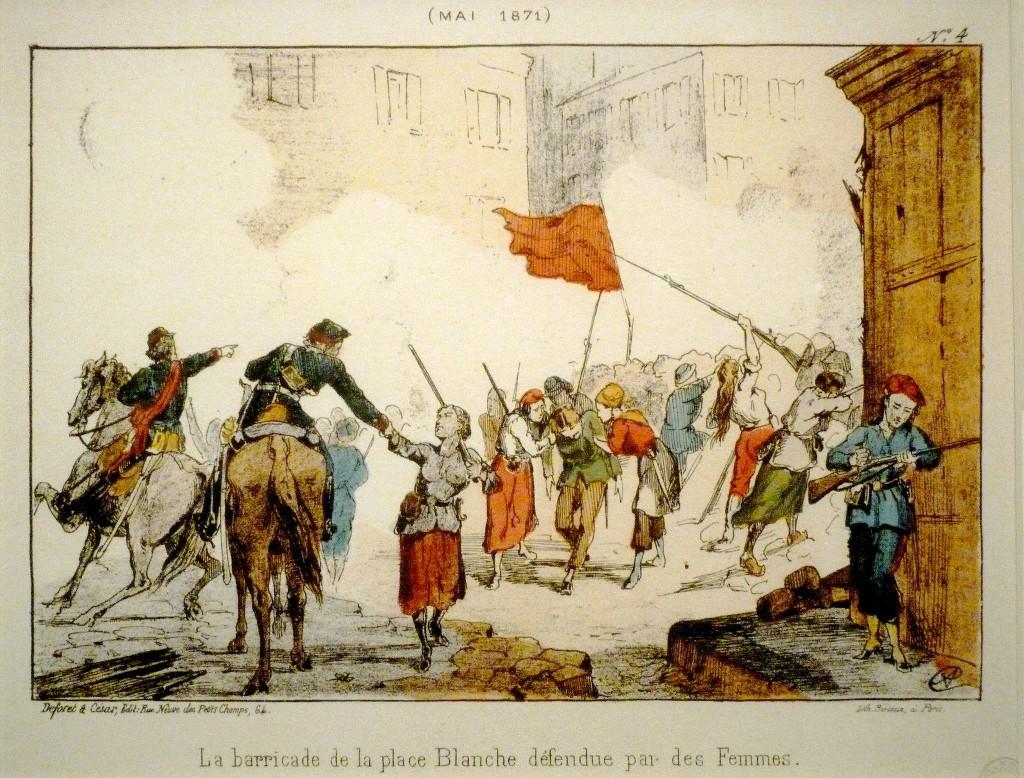 Οδόφραγμα της Place Blanche, που υπερασπίστηκαν γυναίκες κατά τη διάρκεια της ματωμένης εβδομάδας - Λιθογραφία - Μουσείο Carnavalet